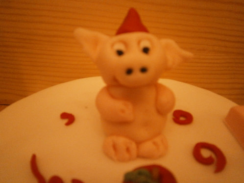 Pig birthday party cake topper with name and age