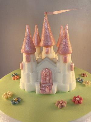 Edible fondant pink & white fairy-tale princess castle cake topper
