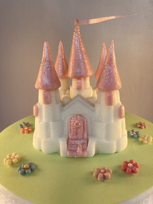 Edible fondant pink & white fairy-tale princess castle cake topper