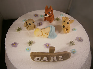 handmade edible animal cake topper for a