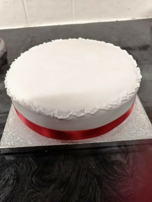 "7"" iced luxury Christmas cake with red ribbon"