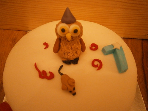 Owl edible birthday cake topper with name and age