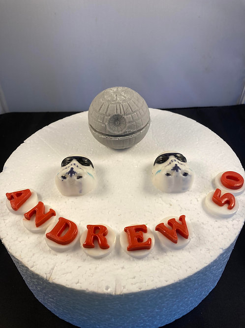 Space ship 1 edible cake topper with name and age