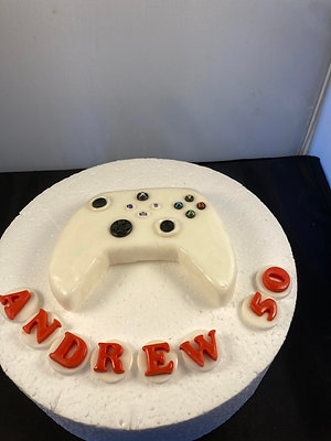 Games console edible cake topper with name and age