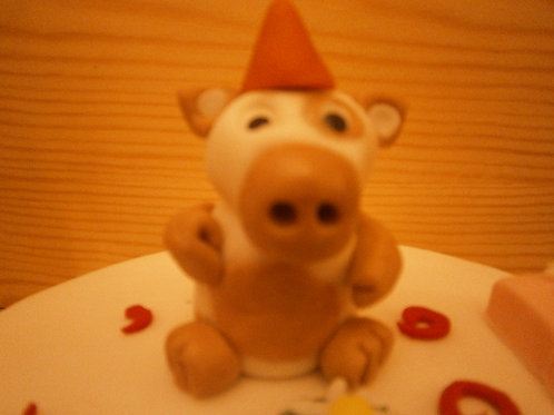 Cow birthday cake topper with name and age
