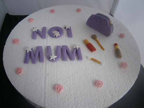 Purple Mother's Day make-up cake topper