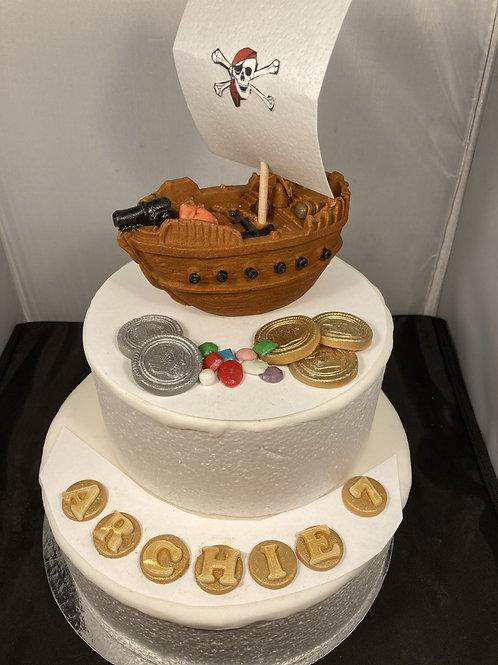 Edible fondant pirate ship, pirate treasure, name and age
