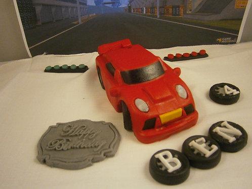 Edible fondant red sports car cake topper