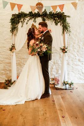 Winter wedding barn