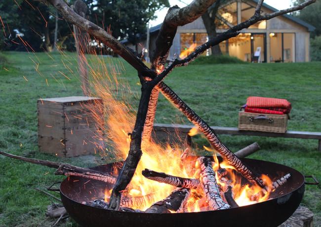 fire pit marshmallows Devon wedding venu