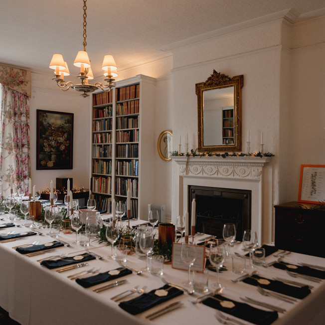 Dining room set up for a small wedding at Porthpean House