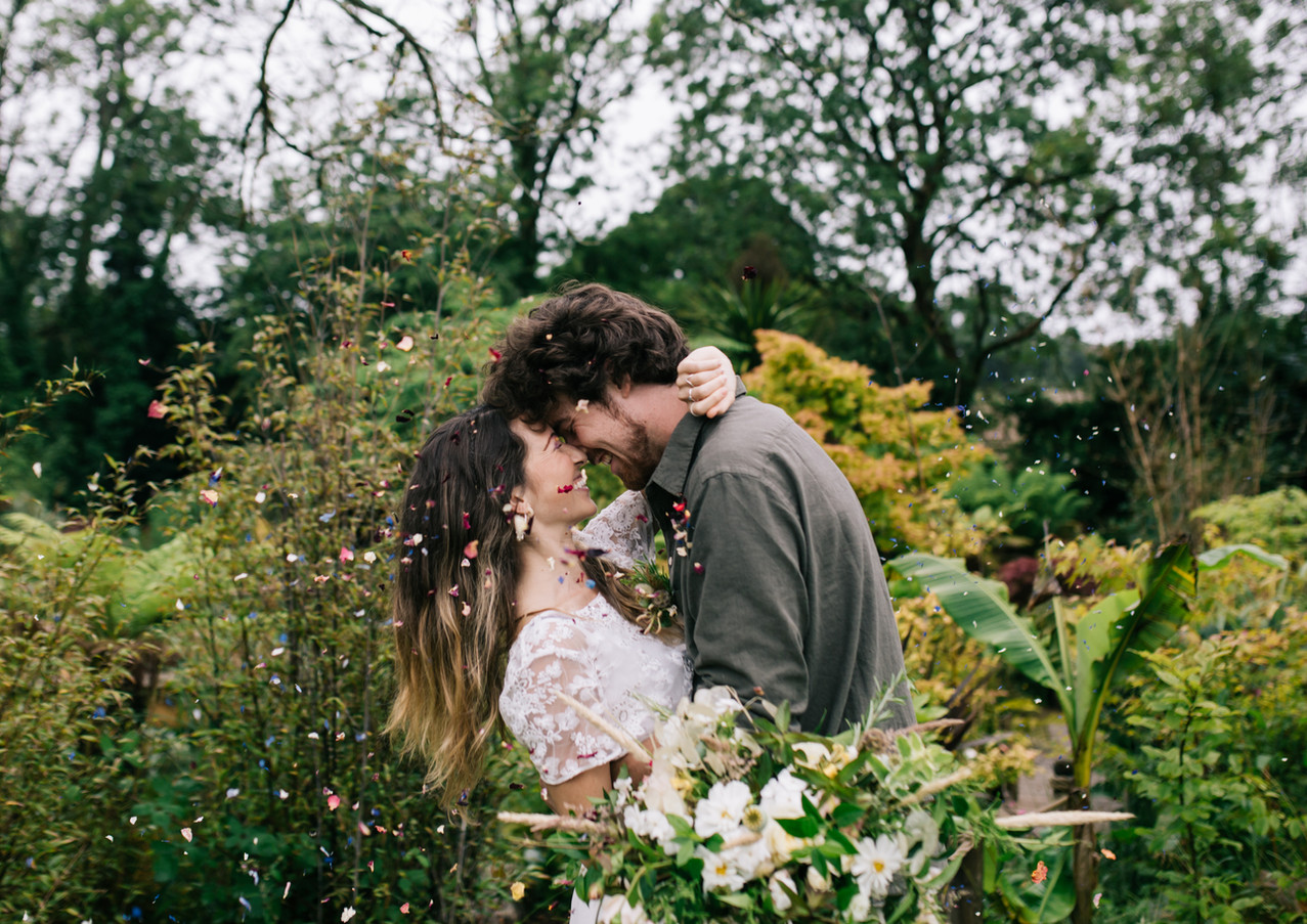Intimate wedding day kiss at Pengelly Retreat