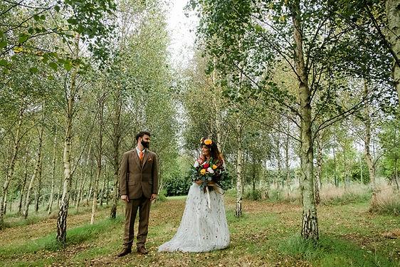 Devon woodland wedding venue couple silv