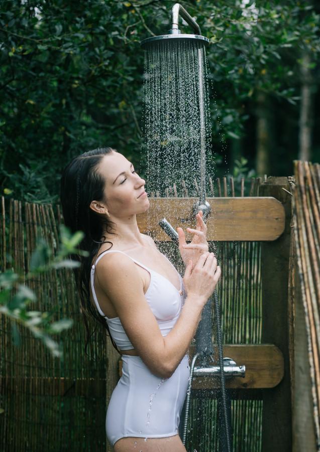Outdoor shower at Pengelly Retreat