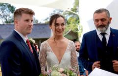Garden wedding ceremony at Treseren