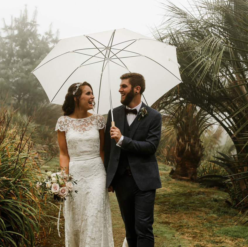 The sea mist provided an ethereal effect on Amy and  Dan's wedding day.