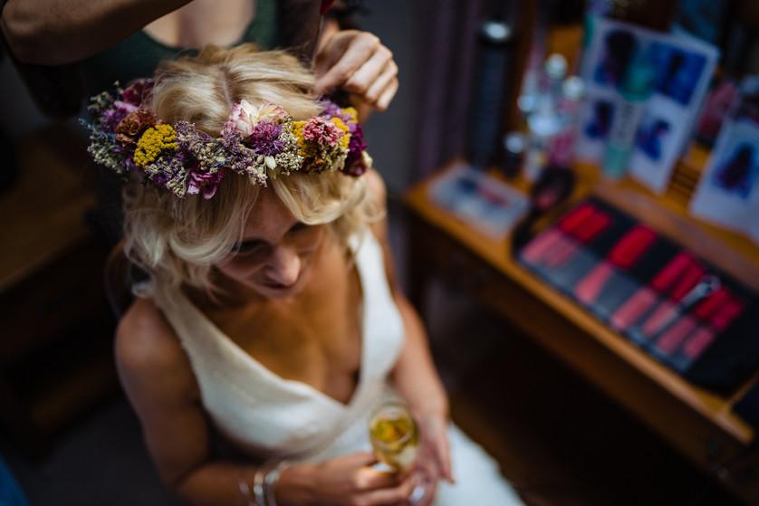 Rustic bridal prep, elopement wedding the Lamb Inn at Sandford