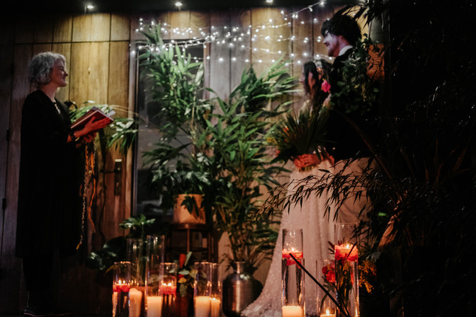 Ceremony on the decking at Fallen Angel