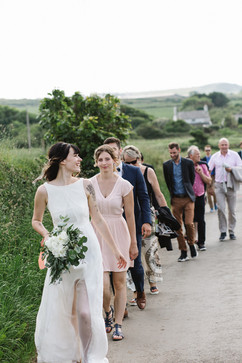 Wedding day walk to the church