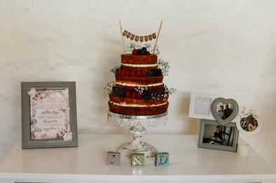 Small naked wedding cake