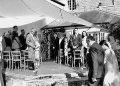 Outdoor wedding ceremony at Trrseren