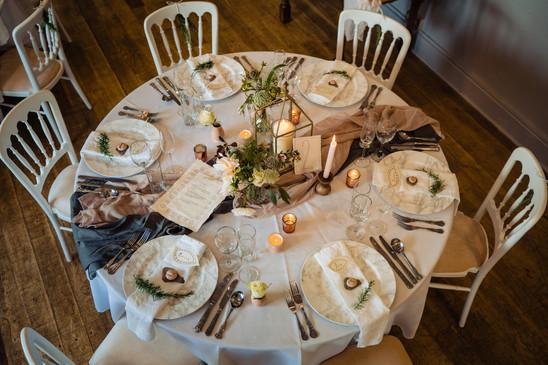 Wedding meal setting - The Lamb Inn at Sandford Weddings