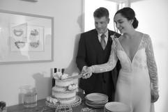 Cutting the wedding cake at Treseren