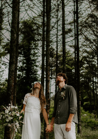 Woodland intimate wedding at Pengelly Retreat
