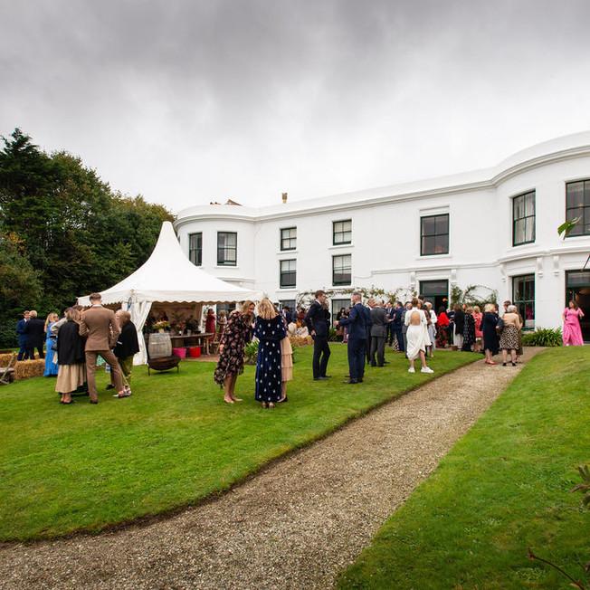Lawn wedding reception over looking teh sea
