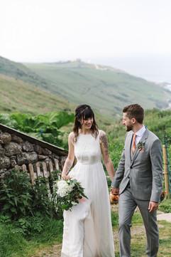 Coastal walk on wedding day