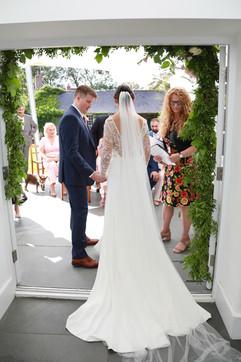 Intimate wedding ceremony at Treseren