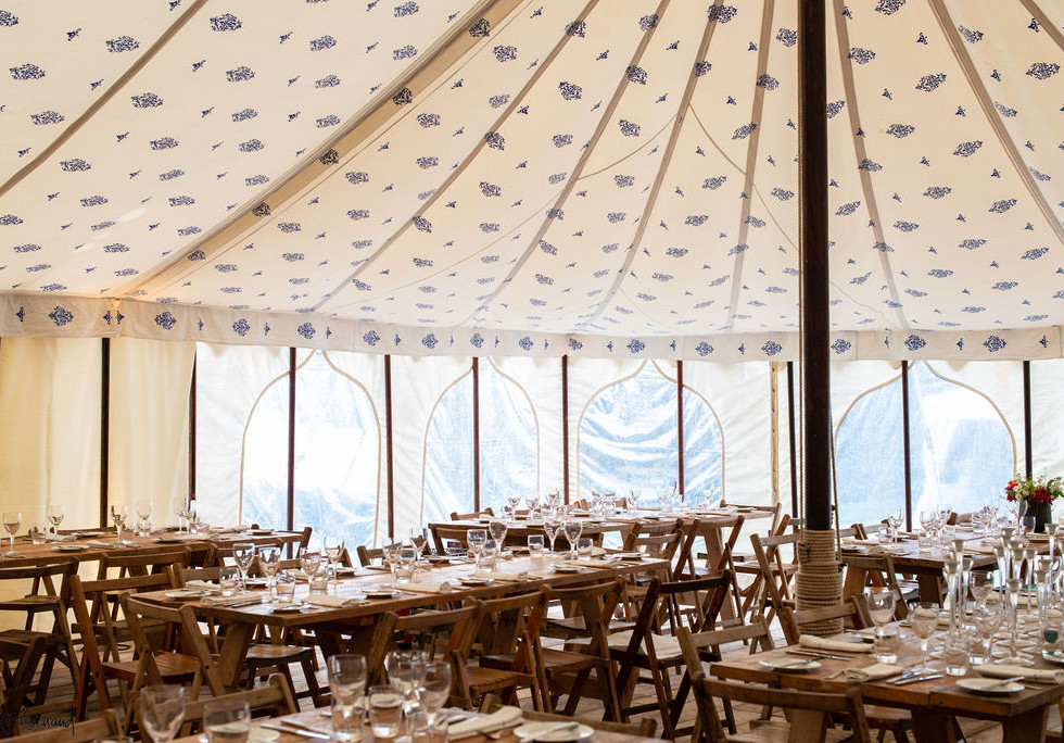 Marquee on the lawn at Porthpean House