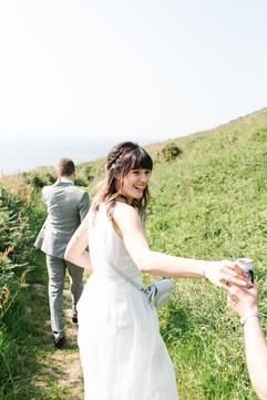 Coastal path walk on Chyoraze wedding day