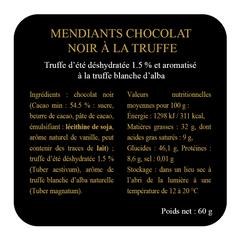 Etiquettes mendiants chocolat ingrédient