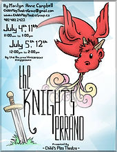 Poster for the stage play The Knight's Errand, featuring a cartoon drawing of a red dragon and sword stuck in the ground.
