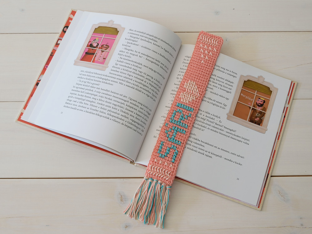 crocheted bookmark with your name