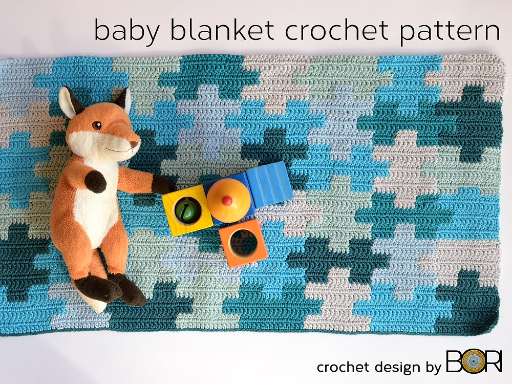 Blue baby blanket crochet pattern.