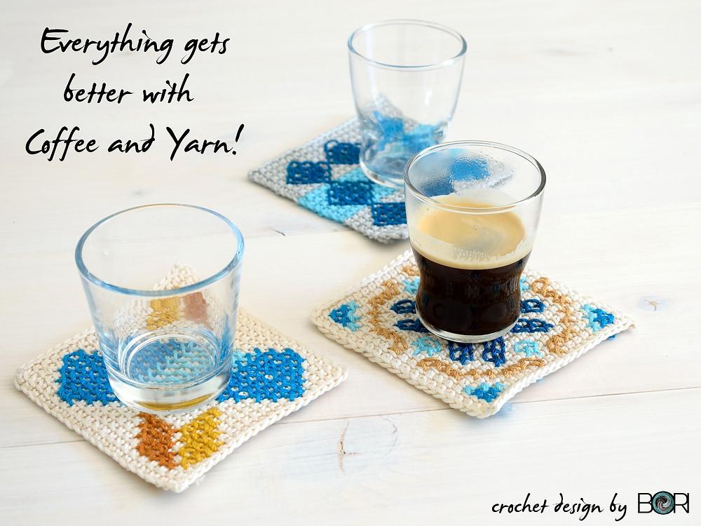 crochet coffee placemat pattern