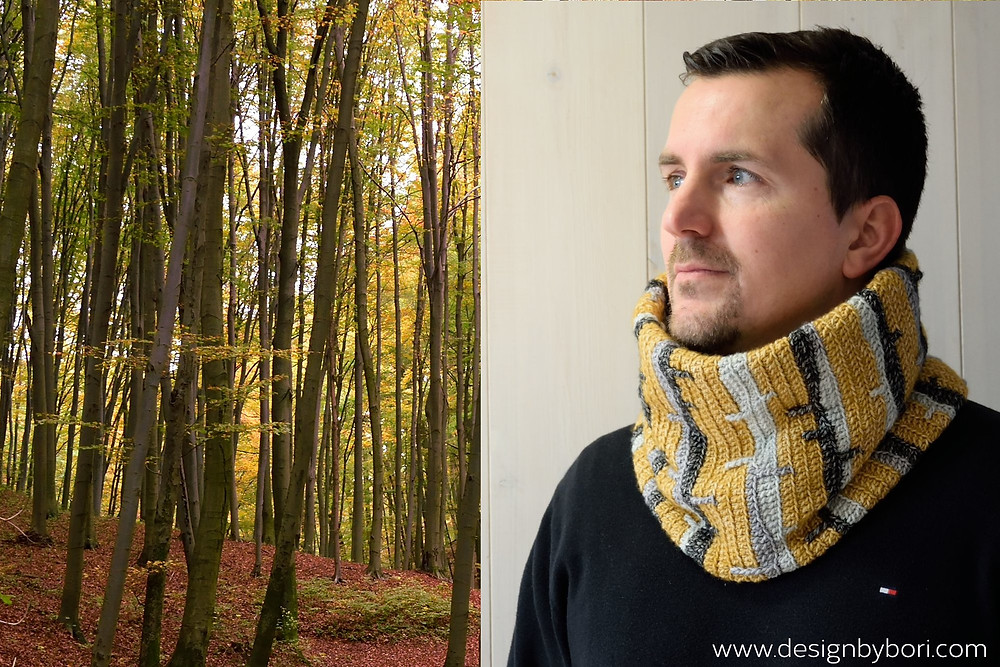 crocheted winter cowl for him