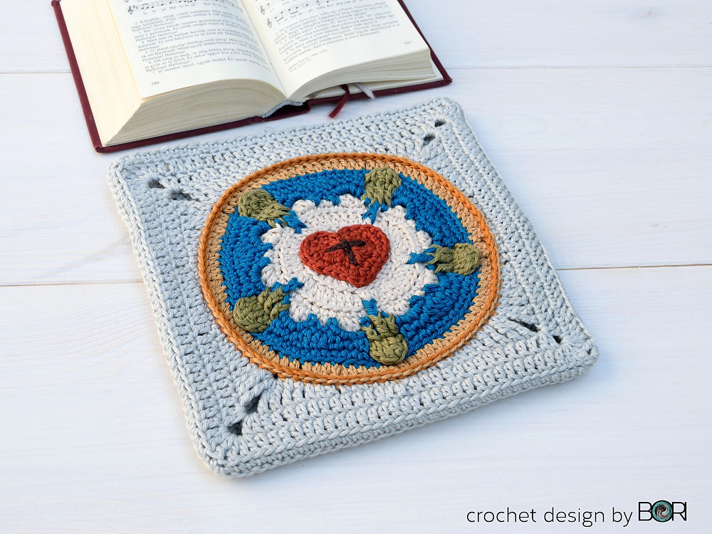 Luther Rose crocheted granny square pattern