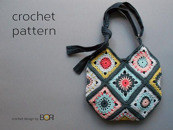 Handmade crocheted granny square shoulder bag pattern.