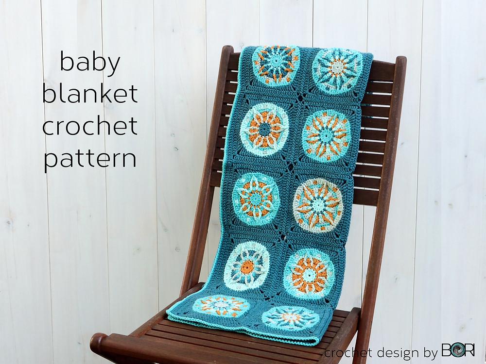 crochet granny square baby blanket pattern