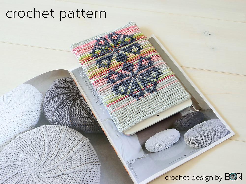 carnation iPad crochet case