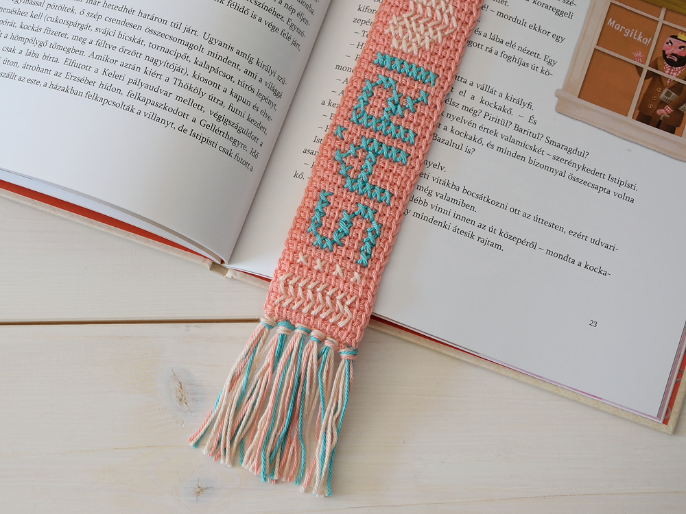 cross stitch and crochet bookmark