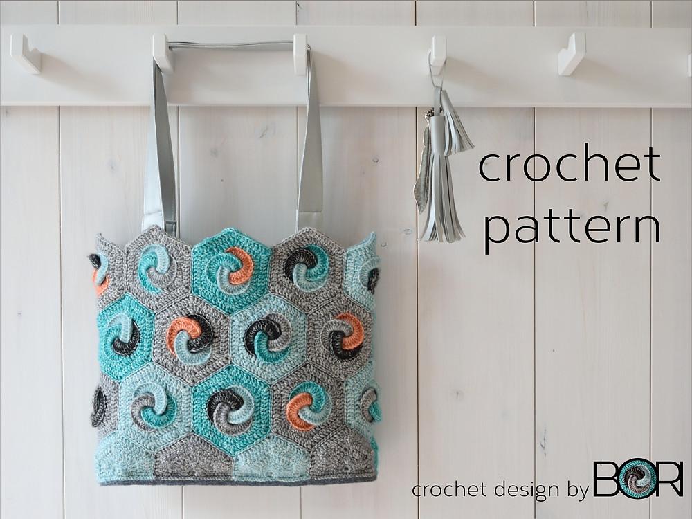 crocheted hexagonal granny bag pattern by BORI