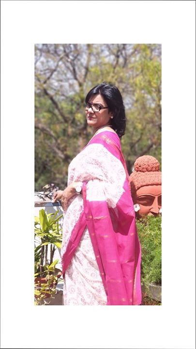 An off-white with pink border Sungudi Saree from Indian Artizans