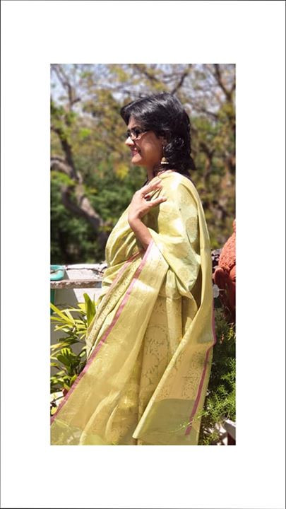 A Green Chanderi Saree of Madhya Pradesh by the Indian Weaver
