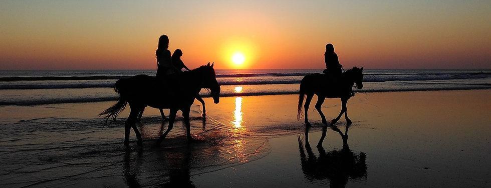 Horsebak Riding at Beach Sunset
