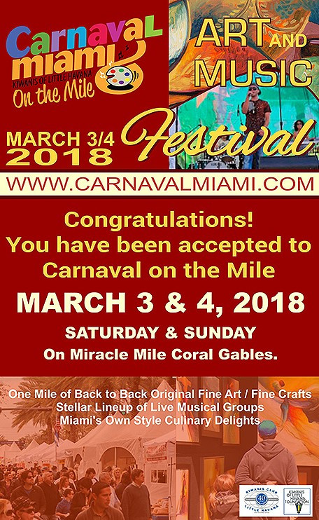 Official acceptance to Carnaval on the Mile 2018