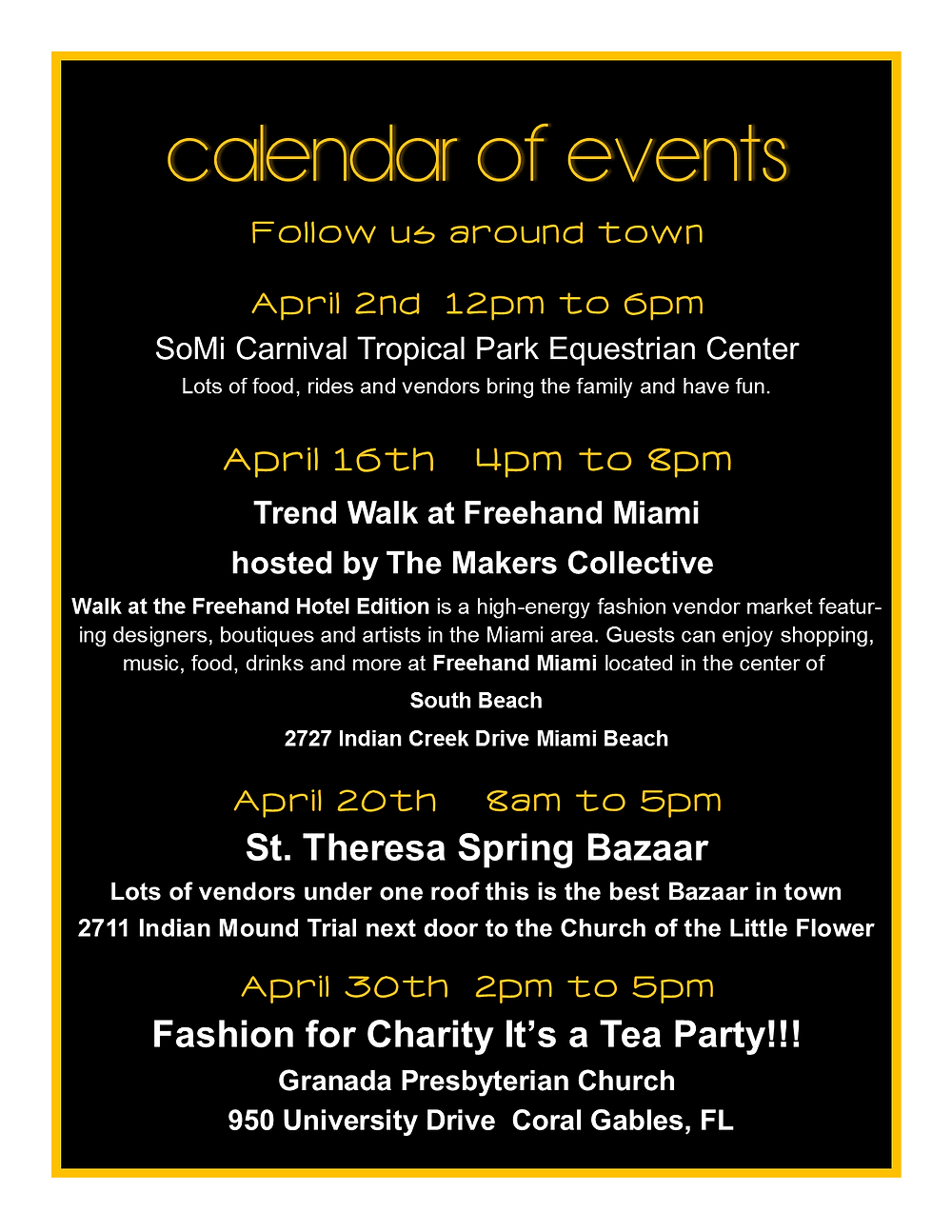 Calendar of Events for April 2016